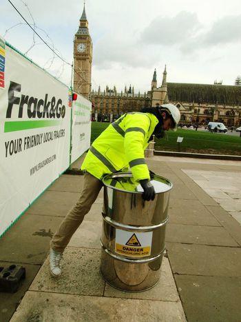 Green Peace fracking protest, Parliament Green, London, U.K. 09-02-2016 Parliament Olympus Zuiko Stevesevilempire Uk London Fracking Parliament Green Protest Steve Merrick Environment Green Peace Greenpeace