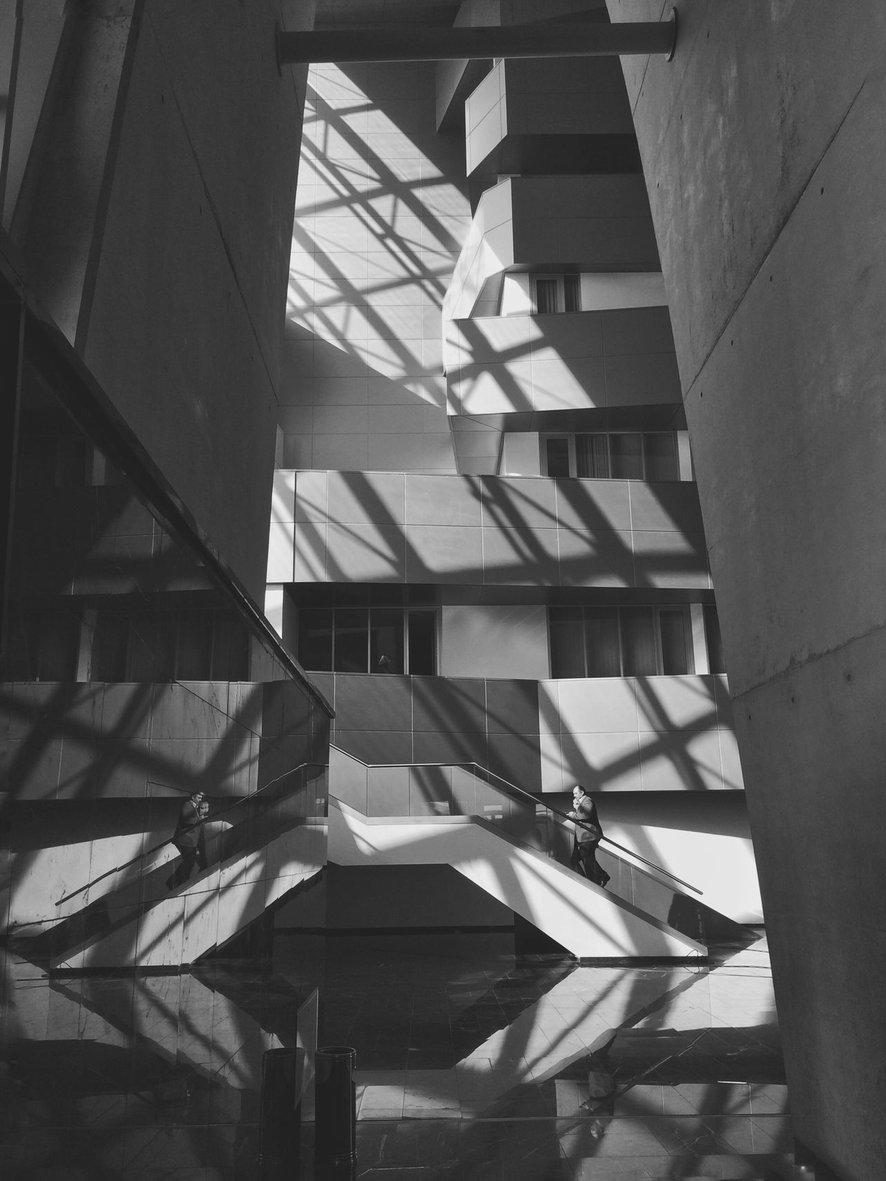 Shadow Architecture Built Structure Indoors  Staircase Day Steps And Staircases Glass Shadow People