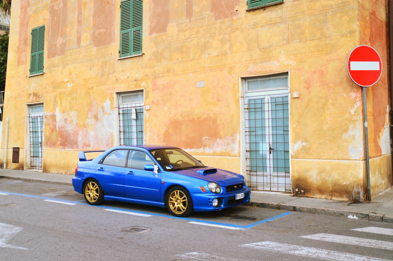 Subaru Impreza Wrx STi Subarulove Subaru Impreza Albenga Old-fashioned Car Vintage Car Retro Styled Transportation Stationary Built Structure Architecture No People Building Exterior Mode Of Transport City Land Vehicle Day Outdoors Collector's Car Liguria,Italy Travel Destinations