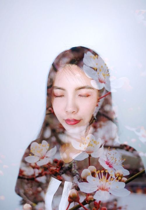 Double Exposure Closeeyes Portrait Headshot Woman Girl Face Flower Smile Spring Indoors  Red Lips