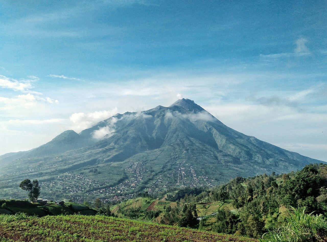 Mountain Blue Volcano Landscape Nature Beauty In Nature Green Color Sky Merapimountain Merapi Volcano Merapi Yogyakarta Merapi In The Morning Mountain Peak