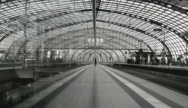 Blackandwhite Monochrome Waiting For A Train Architecture_bw Symetric Urban Geometry