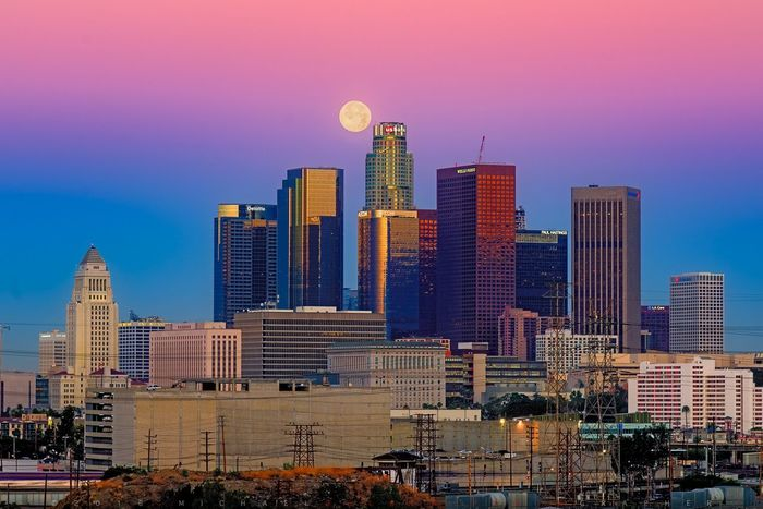 The less famous side of downtown Los Angeles. Architecture Building Exterior City Built Structure Skyscraper Cityscape Tall - High Sky Urban Skyline Tower Modern Building Story City Life Office Building Tall Blue Travel Destinations Outdoors Romantic Sky Development DTLA Skyline DTLA Full Moon Moon Twilight