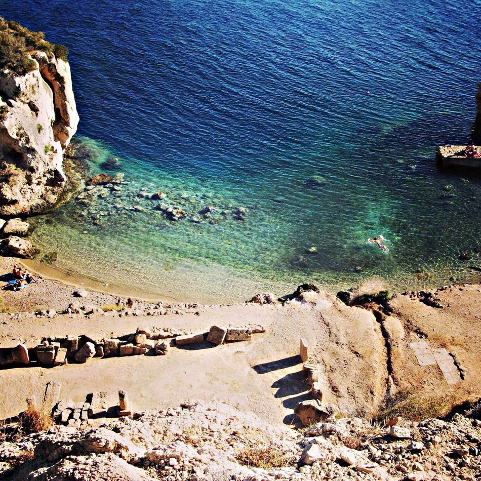 Greece Enjoying The View Great Views Beach In Greece we can swim next to the ancients temples
