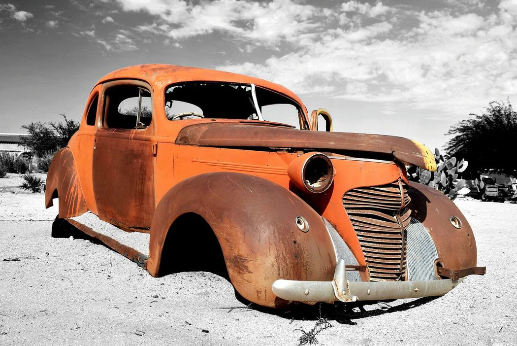 Namib Desert. Namibia Car Transportation Mode Of Transport Sky Old-fashioned Cloud - Sky Stationary Outdoors Nature No People Arid Climate Day Desert Rust Color Splash Timegoesby Rusty Car EyeEmNewHere EyeEmNewHere Old Car