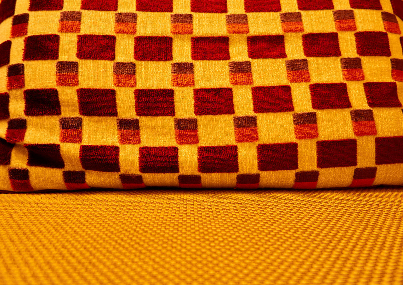 Backgrounds Close-up Day Indoors  Living Room Living Room Impression Multi Colored No People Pattern Red Tablecloth Yellow