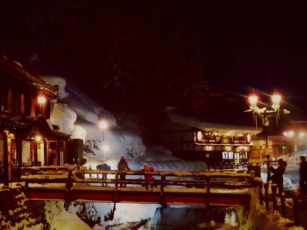 Japan Japan Japan Photography Japanese Style 日本 銀山温泉 YAMAGATA Japannature Japan Photos Nature Photography Snow Snow ❄ Night Illuminated Building Exterior Built Structure Outdoors Tree Smoke - Physical Structure Sky No People Burning Architecture Flame Fire