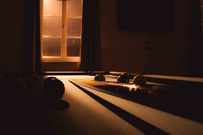 Day Game Indoors  Interior Light And Shadow Long No People Pooltable Window