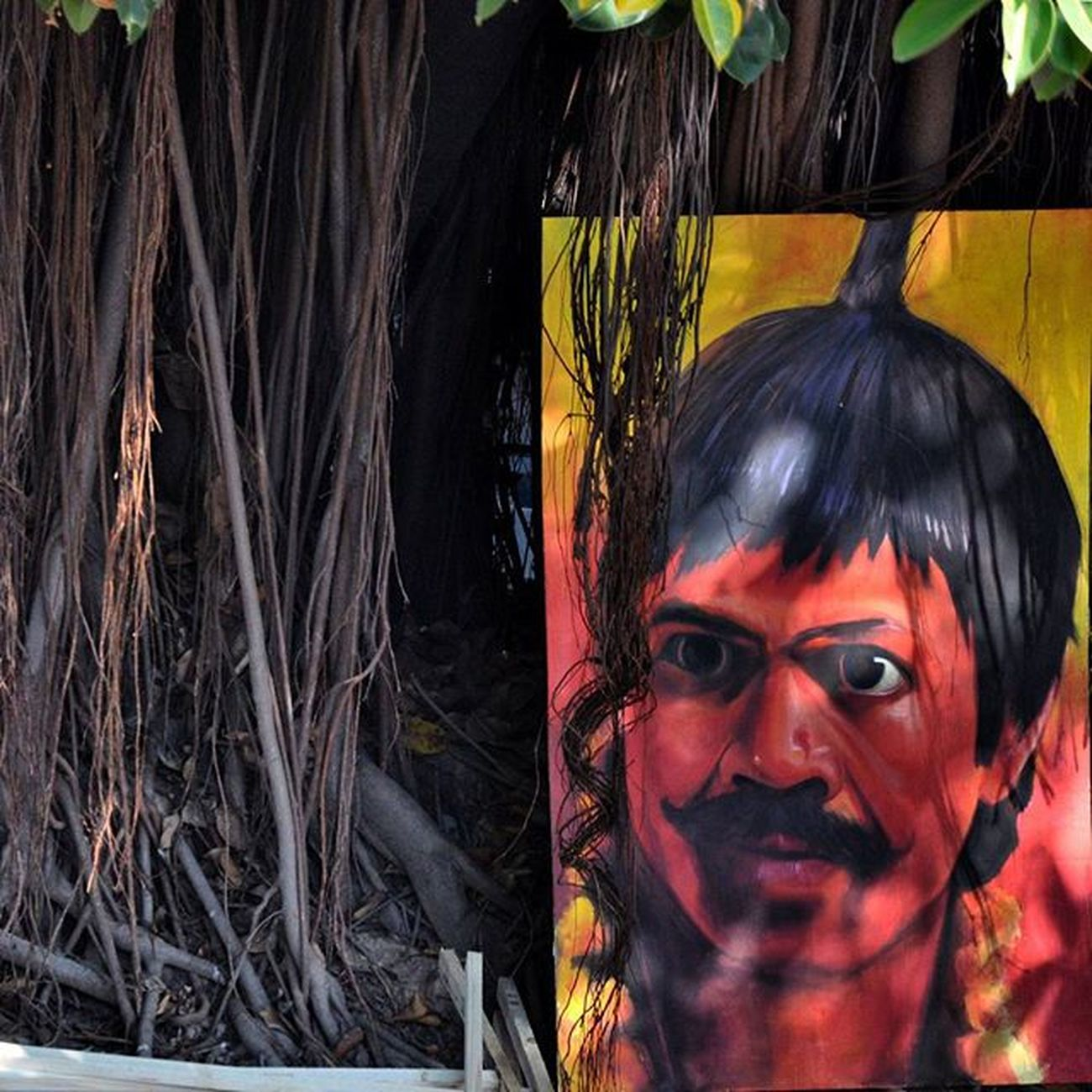 Hindustan_times street art under the tree Instalike Instaart Instaphoto Instapainting InstawithHT Dailypic Dailylife Memorielane Sukhnalake Streetart Trees Shadow Painting Rajpalyadav Actor Colours