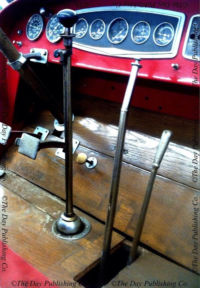 Shift handles and pedals, 1936 Maxim fire engine. Vintage Motorcars.