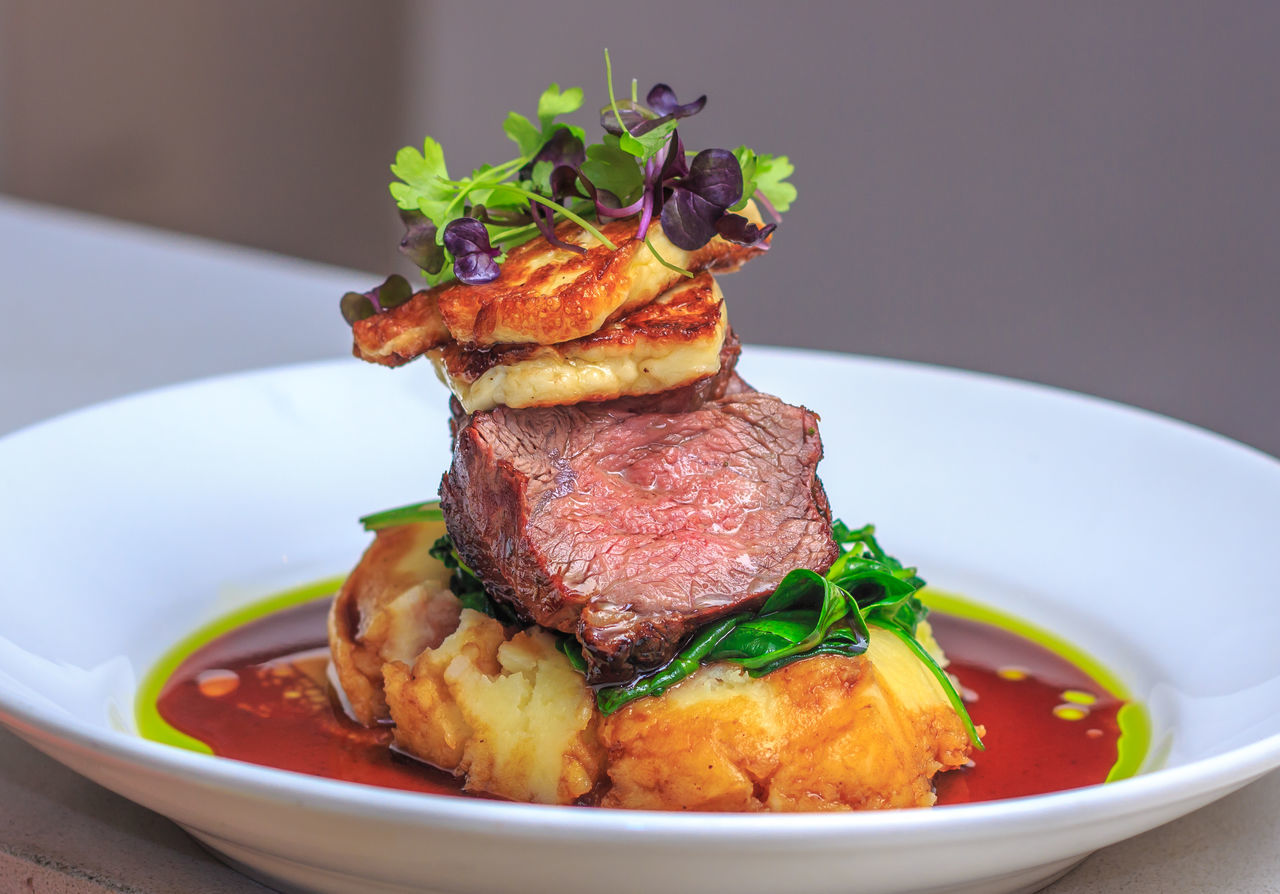 Lamb Rump cooked medium with mash potatoes and halloumi cheese at gastro pub Beef Check This Out Close-up Food Food And Drink Freshness Halloumi Healthy Eating Indoors  JustMe Lamb Lamb - Meat MAS Meal Meat No People Plate Ready-to-eat Red Meat Roasted Savory Food