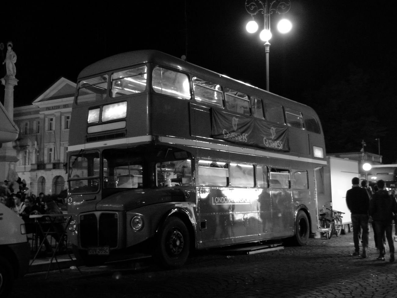Blackandwhite Transportation Mode Of Transport Night Mobilephotography Gorizia HuaweiP9 Sundaynight History Londonbus Old-fashioned