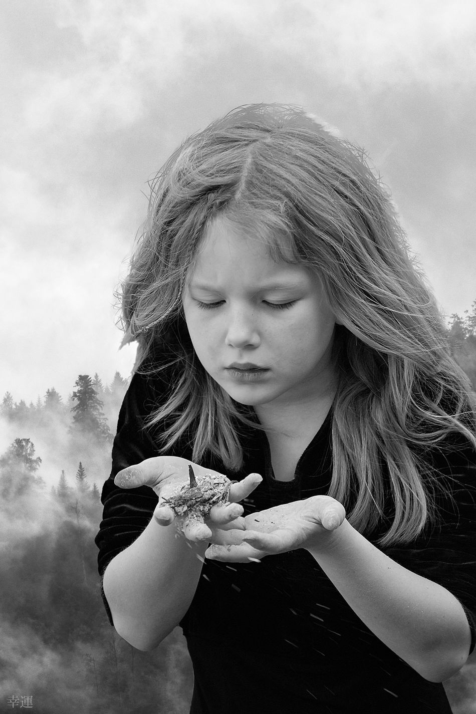 ashes to ashes, dust to dust Portrait Child Girl Close-up Melancholy Sadness Sorrow Mood Lucky's Mood Lucky's Monochrome Monochrome Monoart Black And White Shootermag EyeEm Gallery ArtWork Fine Art Photomanipulation Contrast Detail Shades Of Grey Tranquility Silence EyeEm Dust In The Wind