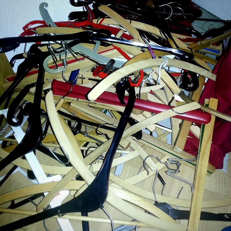 Clotheshanger Hanger Hangers Chaos No People Multi Colored