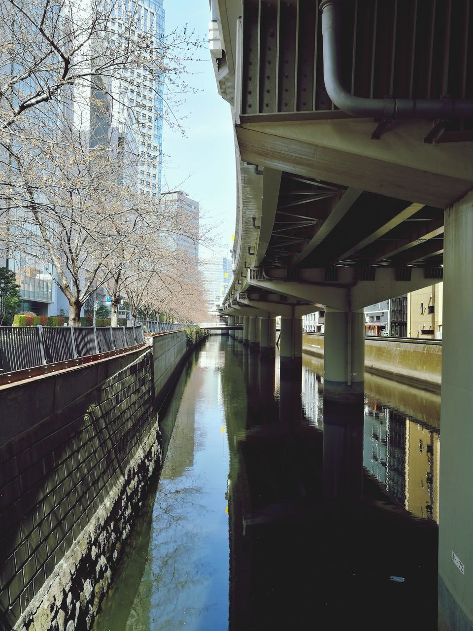 water, architecture, built structure, building exterior, reflection, bridge - man made structure, canal, connection, day, no people, outdoors, transportation, bridge, bare tree, tree, footbridge, nature, sky, city