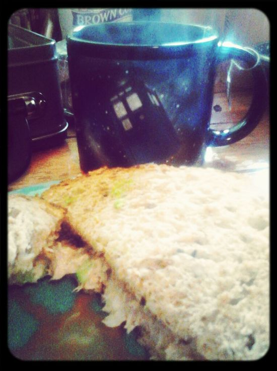 tuna avocado sandwich accompanied by sweet jasmine in the TARDIS cup is part of your complete breakfasts.