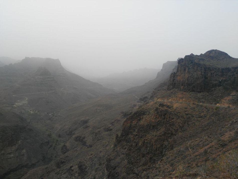 Fog Mountain Nature Calima Tenerife Perfiles De Montañas