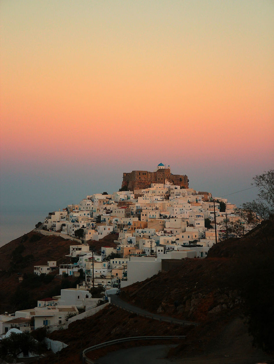 Astypalaia Astypalea Built Structure Castle Chora Chora Church Dawn Dodecanese Greece Horizon Over Water Nature Sea Sky