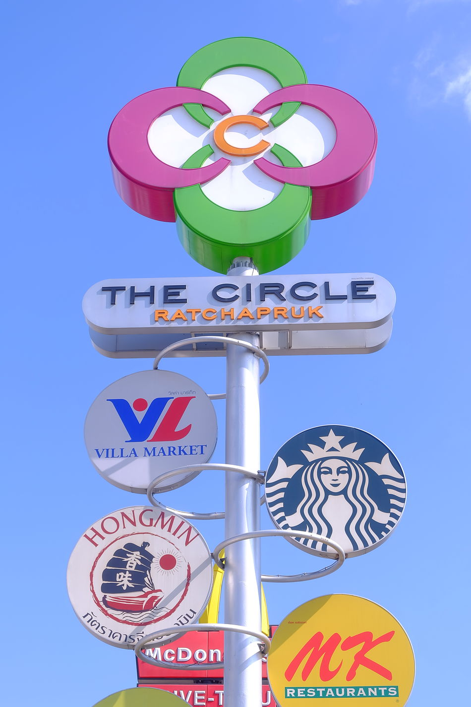 billboard of The circle bangkok Thailand oDay Sky Outdoors multicolorBuilding Exterior Blue Sky Multicolor Architecture City Colorful Community Mall Shopping Mall Communitymall The Circle Bangkok Thailand Billboard Logo