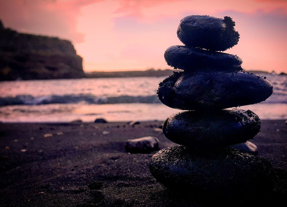 Tenerife Island Tenerife España Sunset Beach Sea Beauty In Nature Nature Outdoors Nice Colors Colorful Relaxing AmaizingSilhouette Stones Stones & Water Equilibrio Tranquil Scene