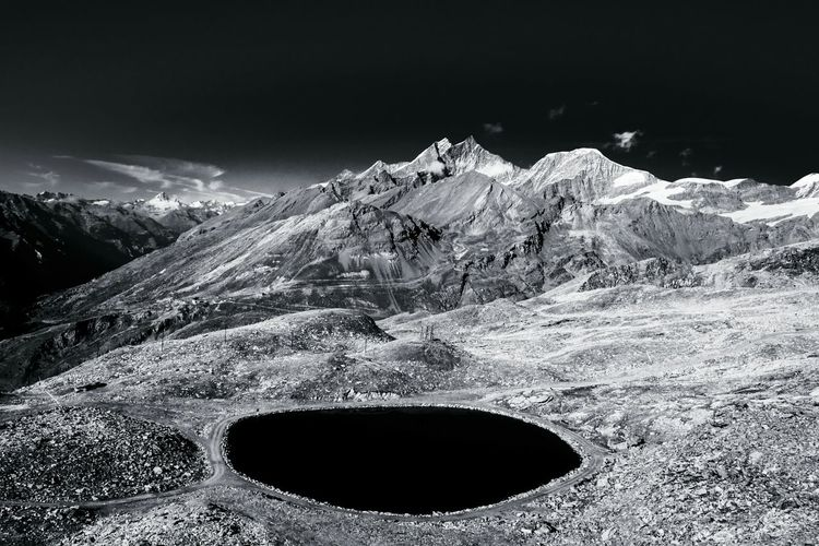 Alps Landscape Black And White Light And Shadow Mountain View Glacier Traveling