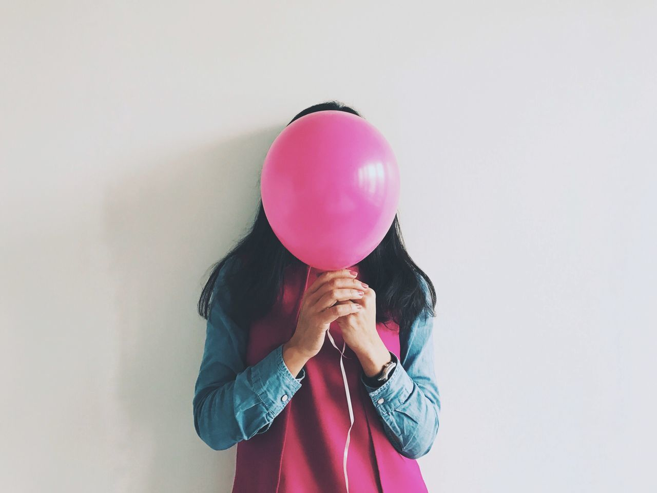 Balloon Helium Balloon Holding One Person Studio Shot Pink Color Standing Celebration White Background Real People Helium Day People Woman
