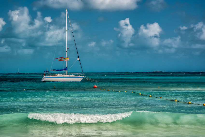 Cancun Mexico Beach Beauty In Nature Cloud - Sky Day Horizon Over Water Mast Moored Nature Nautical Vessel No People Outdoors Sailboat Sea Sky Tranquil Scene Tranquility Water Waterfront Wave