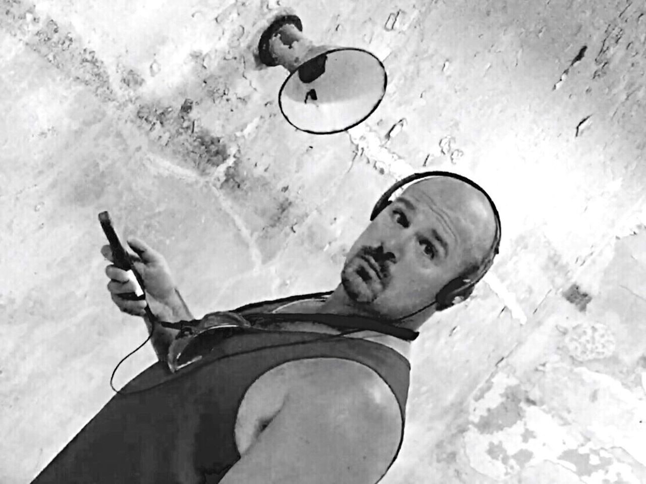 Headphones Listening Looking At Camera Looking For Trouble Looking Blackandwhite Personality  Personal Experiences Personal Perspective Muscle Man Goatee Manly  Manlyman