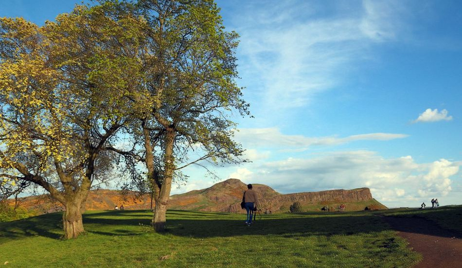 Beauty In Nature Cloud - Sky Day Green Landscape Man Walking From Behind Nature Scenics Shadow Sky Travel Tree