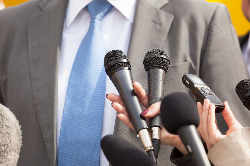Media interview. News conference. Journalism. Business Event Journalist Politics Reporting Answering Broadcasting Business Person Communication Information Journalism Media Media Interview Microphone News People Politician Press Conference Public Publicity Reporter Speaking