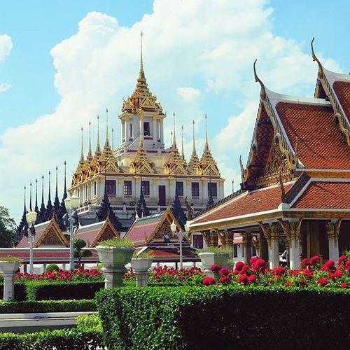 Temple gazing at Wat Ratchanatdaram Bangkok Thailand Streetphotography Street Travel Travelshots Everydayasia Everydaylife Spires Rooftops Explorebkk Cityscene Feel The Journey