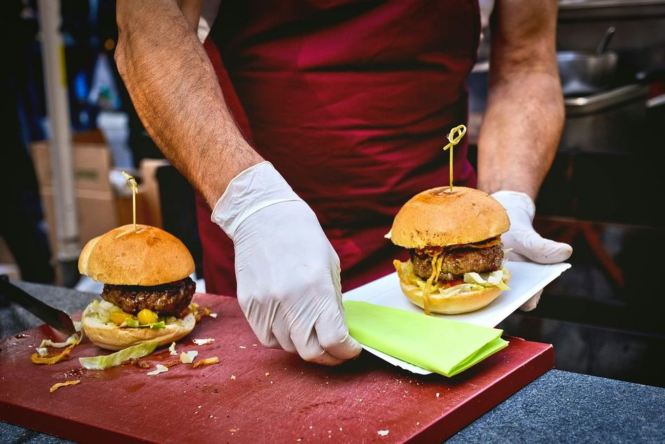 Beautiful stock photos of man, Apron, Burger, Commercial Kitchen, Cutting Board