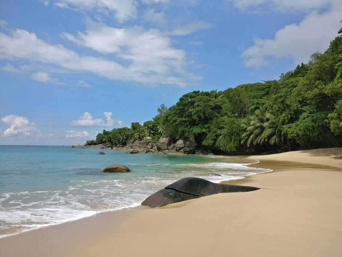 Sea Beach Tranquility Landscape Tropical Climate Beauty In Nature No People Outdoors Postcard Tranquility Nature Seychelles Seychelles Islands Seychellesisland Mahé Seychellen Idyllic Tranquil Scene Beauty In Nature Scenics