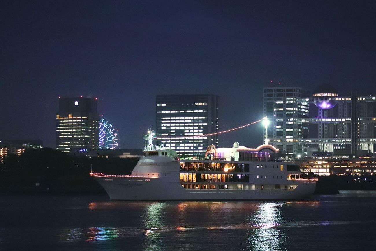 Night Illuminated Reflection Waterfront Cruiseship Fujitv Landscape Nightscape Nightphotography Nightview Odaiba Odaiba Tokyo Tokyo Japan Boat Tokyo Bay Urban Skyline Ferriswheel