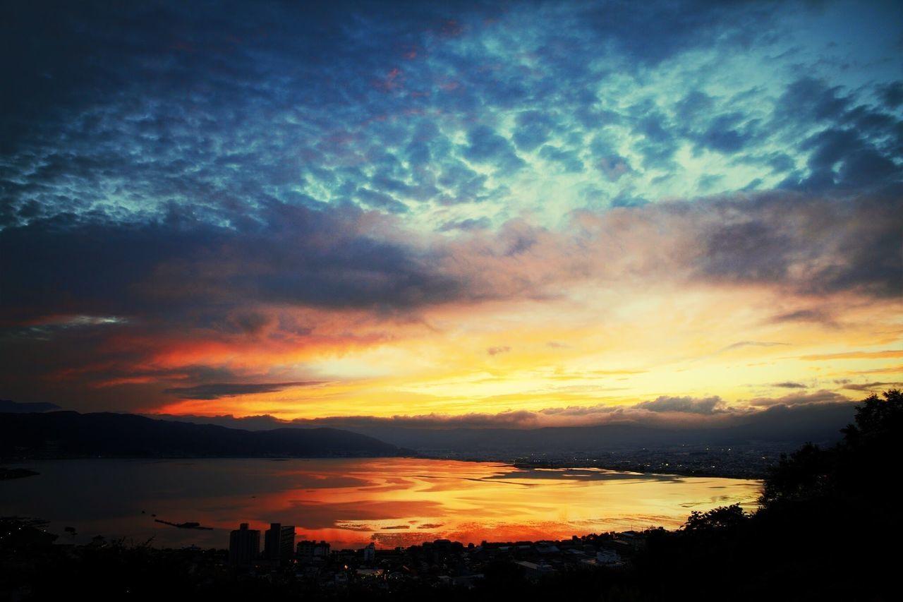 長野県 諏訪市 諏訪湖 立石公園 夕焼け Japan Nagano Suwa Suwa Lake Tateishi Park Sunset