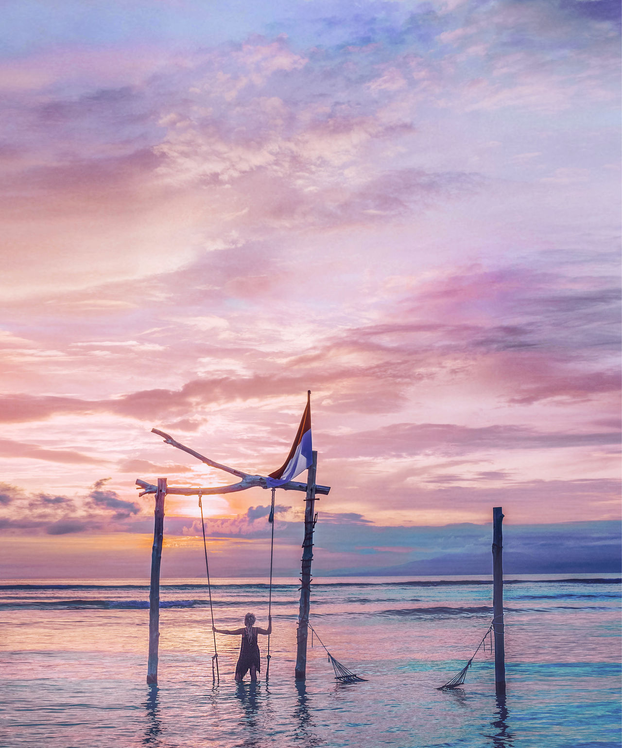 Good bye to sun, Gili Islands, Indonesia Backpacker Backpacking Beauty In Nature Day Escape Getaway  Gili Islands INDONESIA Nature Nature Photography Outdoors Pastel People Photography Pink Relax Scenics Sea Silhouette Sky Sunset Swing Tourism Travel Water
