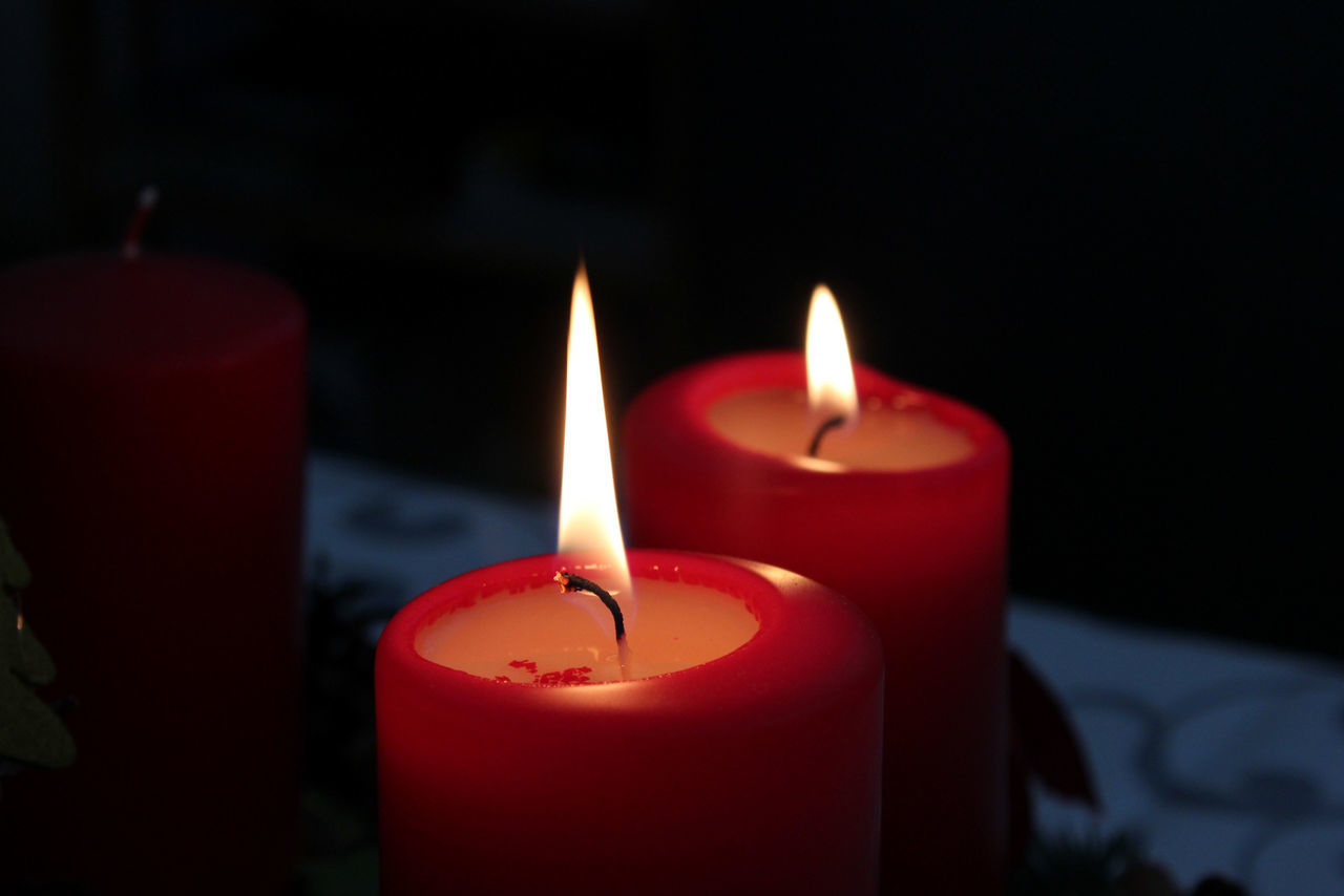 candle, flame, burning, glowing, red, close-up, heat - temperature, illuminated, focus on foreground, no people, indoors, night