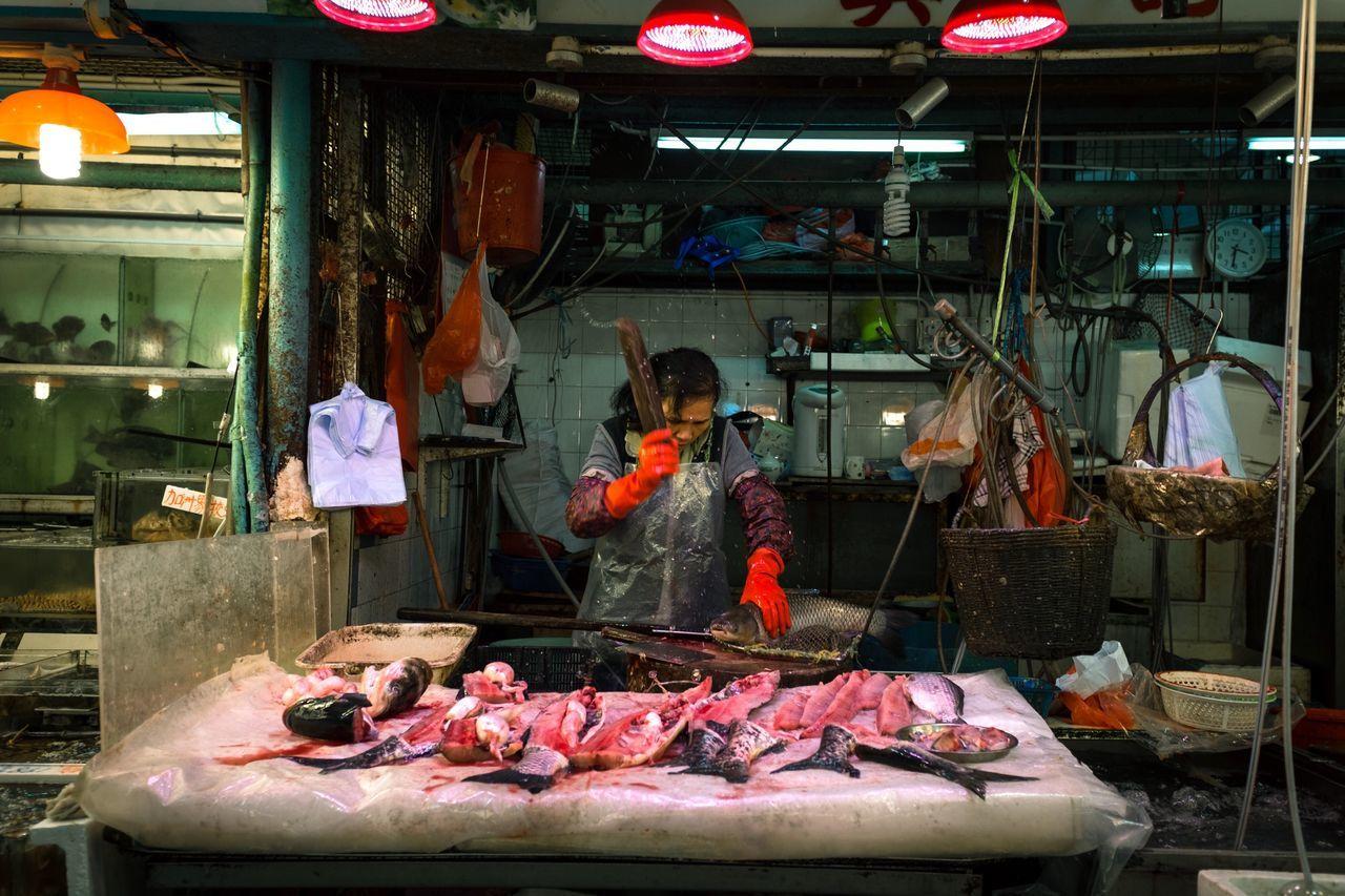 Woman in Red Meat Food And Drink Food HongKong Foodmarket Week On Eyeem FujiX100S