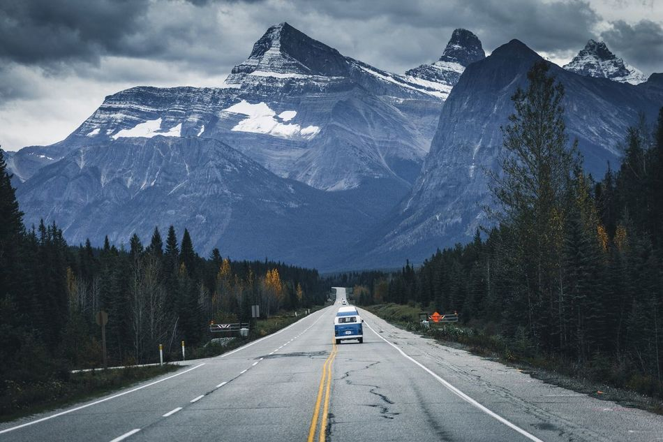 Roadtrip anyone? Mountain Transportation Mountain Range Road Snow Landscape Nature No People Outdoors Day Canada