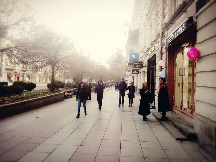 City Walking People Women Tree Large Group Of People Adult Adults Only Architecture Outdoors Men Sky Day Tbilisi Georgia City Life Georgia Groove Tbilisi Grouvya City Street Tbilisi Loves You Architecture Building Exterior Built Structure City