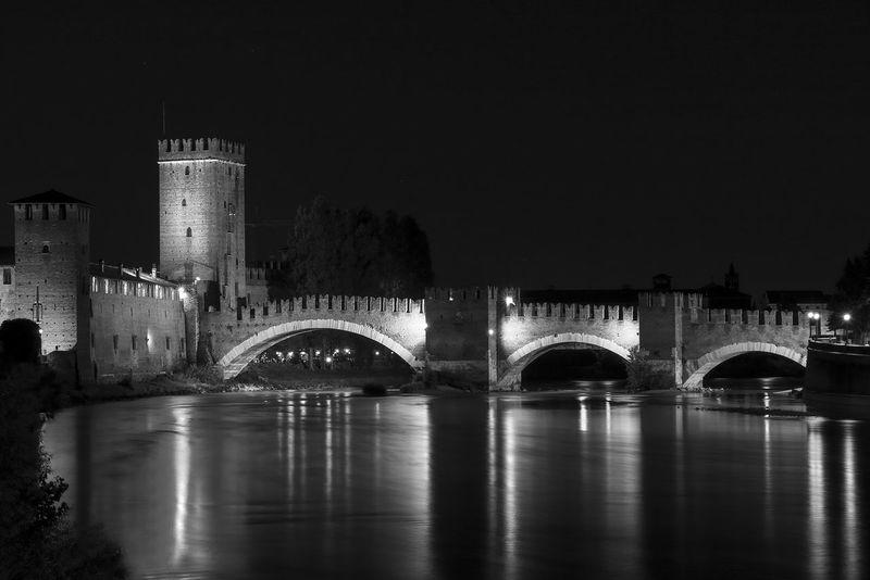 Adige Arch Bridge Architecture Black And White Bridge Built Structure Famous Place Lights Night Outdoors Structure Verona Romeo And Juliet Pontescaligero Castelvecchio in Verona Italy
