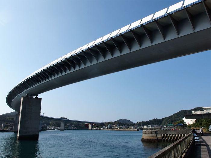 Architecture Blue Bridge Bridge - Man Made Structure Built Structure Clear Sky Japan Amakusa No People Outdoors Portrait Sky Ushibuka Water