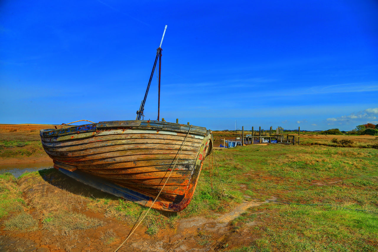 Beauty In Nature Blue Boat Boat Hull Day Grass Mode Of Transport Nautical Vessel No People Norfolk Uk Outdoors Sky Transportation Wood - Material Wooden Hull