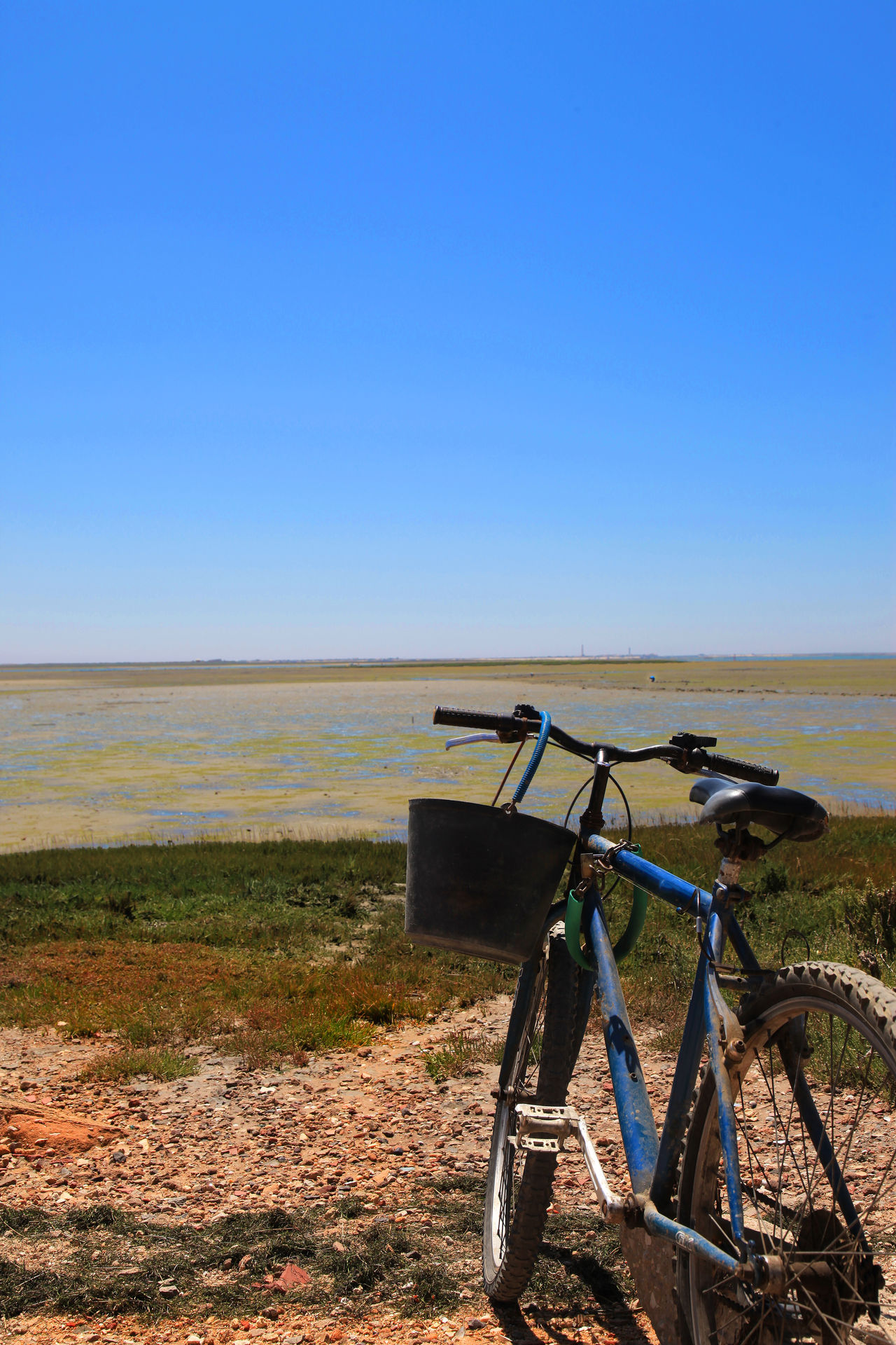 Fishing at work ... Blue Clear Sky Fisherman's Bike Landscape No People Ria Formosa Scenics Transportation