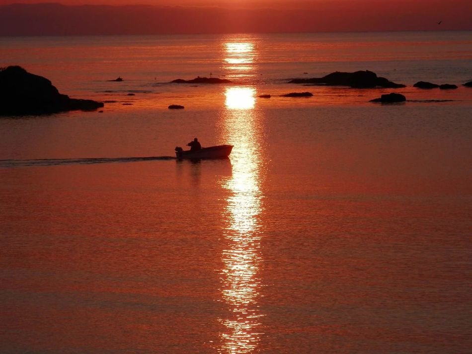 Sunset Reflection Water Sea Beauty In Nature Nature Nautical Vessel Orange Color Beach Waterfront Bulgarian Nature арапя Море Sea_collection залез
