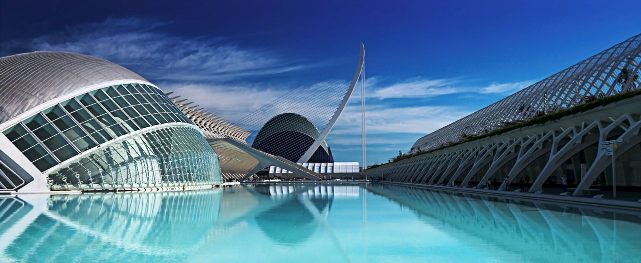 Architectural Feature Architecture Architecture And Water Blu Sky Blu Water Building Exterior Cement City Of Science City Of Science And Art Curved  Curves Lines And Shapes Modern No People Personal Perspective Perspective Sky Stright Line