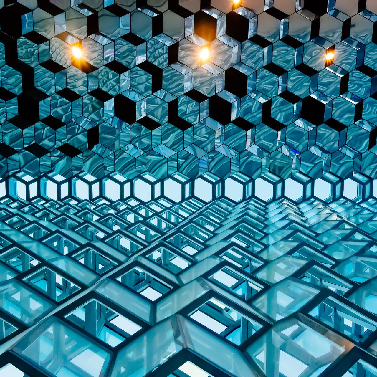 Modern beehive Minimalist Architecture minimalism lightblue skyblue comb beehive Light Modern Architecture Urban geometry illuminated pattern full frame backgrounds indoors no people Modern Architecture built structure AI Now