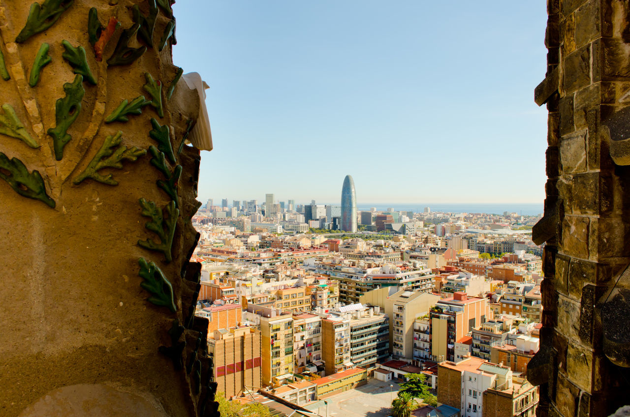 Antoni Gaudí Arhitecture Barcelona Building Building Exterior Capital Cities  Catalonia Catalunya Cathedral Catholic Cityscape Culture Gaudi Human Settlement Modern Modern Architecture Residential District Sagrada Familia Sagradafamilia SPAIN Tall - High Top Perspective Tower Travel Landscapes With WhiteWall