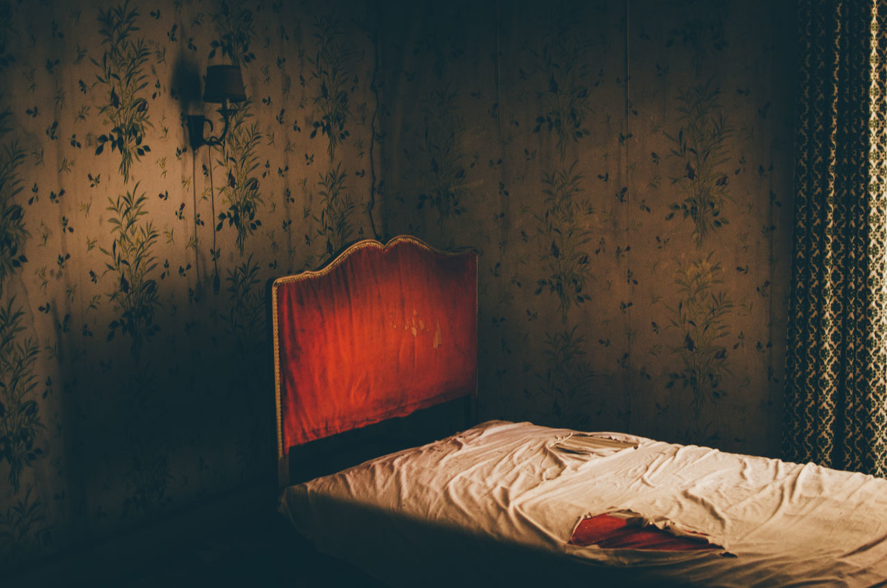 Abandoned Abandoned Places Absence Bed Bedroom Dark Darkroom Destruction Dirty Domestic Room Electric Lamp Empty Furniture Home Hotel Illuminated Lit No People Red Urbex Wall - Building Feature Wood - Material Home Is Where The Art Is Color Of Life Lieblingsteil