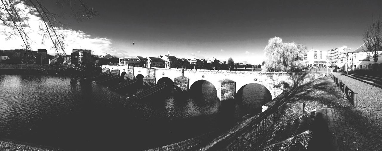 Old town bridge, gothic, Písek city Czech republic, Pano, like lubitel